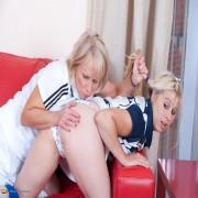 Blonde mature slut doing her naughty student babe