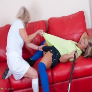 Hot babe getting lezzed up by her trainster