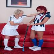 Mature lesbian coaches a naughty hot babe